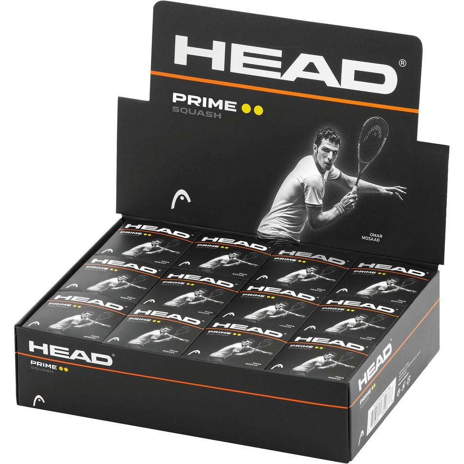 Head Prime Squash Ballls - Double Yellow Dot - Box of 12