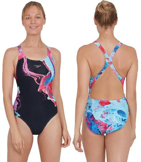 Speedo ColourFlood Placement Powerback Swimsuit