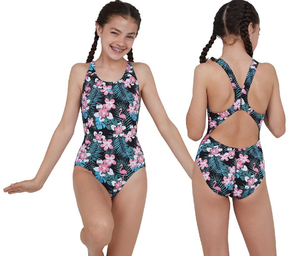 Speedo JungleGlow Allover Splashback Swimsuit Junior