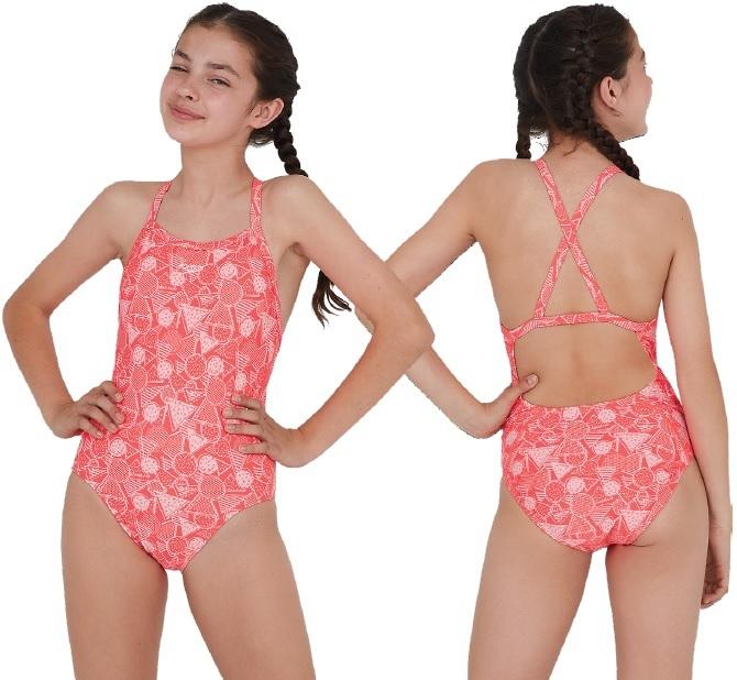 Speedo DazzleGeo Allover X Back Swimsuit Junior